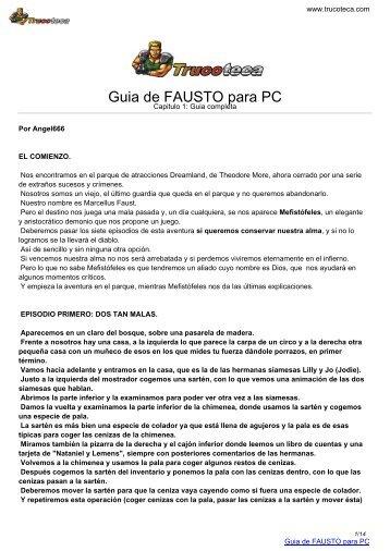 Guia de FAUSTO para PC - Trucoteca.com