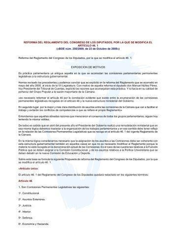 Reforma del Reglamento del Congreso de los Diputados ... - Inicio