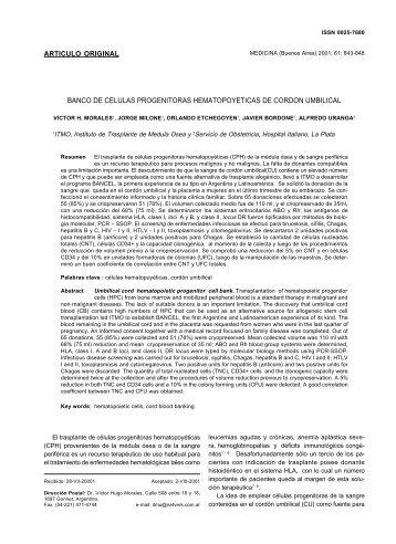 BANCO DE CELULAS PROGENITORAS HEMATOPOYETICAS DE ...