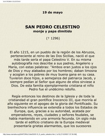 SAN PEDRO CELESTINO - Vidas ejemplares