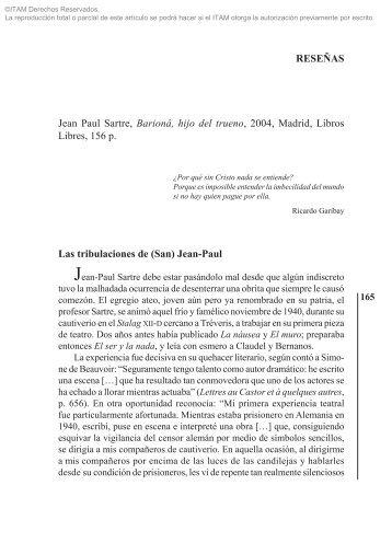 JEAN PAUL SARTRE, Barioná, hijo del trueno ... - Biblioteca - Itam