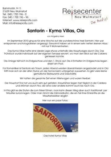 Santorin - Kyma Villas, Oia - Reisecenter Neu Wulmstorf