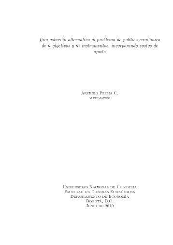 Arcenio Pecha C. Universidad Nacional de Colombia Facultad de ...