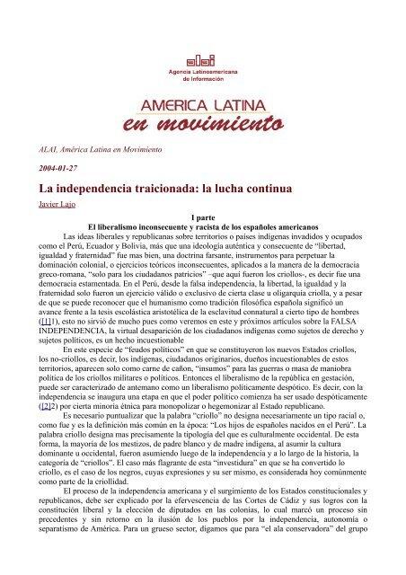 """La independencia traicionada: la lucha continua"" Javier Lajo 27-01 ..."