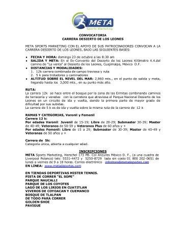 CONVOCATORIA CARRERA DESIERTO DE LOS ... - Meta Deportes