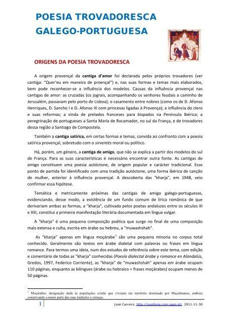 Poesia Trovadoresca Galego Portuguesa Lusofonia Sapo