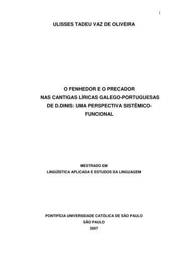 o fenhedor eo precador nas cantigas líricas galego - PUC-SP
