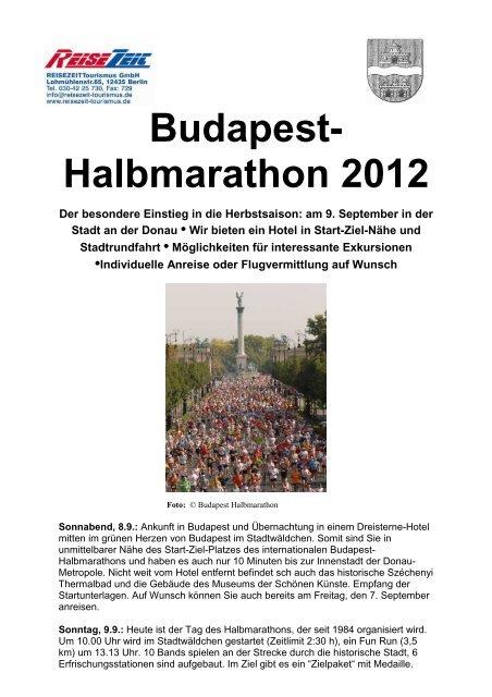 2012 Flyer Halbmarathon Budapest - REISEZEIT Tourismus GmbH