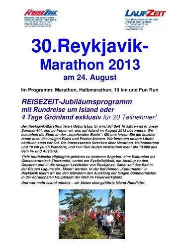 Reiseflyer 30. Reykjavik-Marathon - REISEZEIT Tourismus GmbH