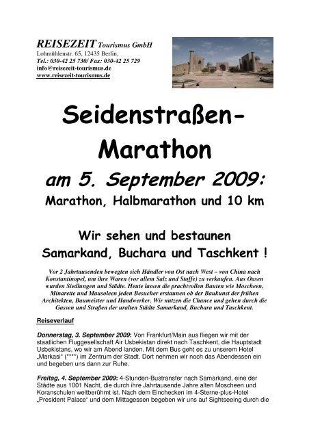 Flyer Seidenstraßenmarathon - REISEZEIT Tourismus GmbH