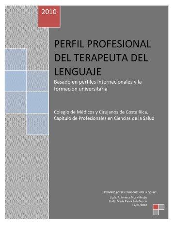 Perfil Profesional del Terapeuta del Lenguaje - Colegio de Médicos ...