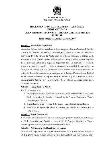 Reglamento MEU - Poder Judicial de la Provincia de Misiones