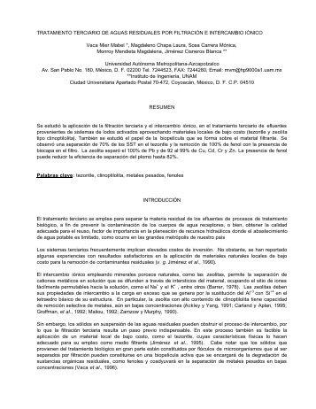 TRATAMIENTO TERCIARIO DE AGUAS RESIDUALES ... - BVSDE
