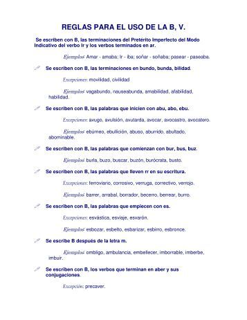 REGLAS PARA EL USO DE LA B, V.