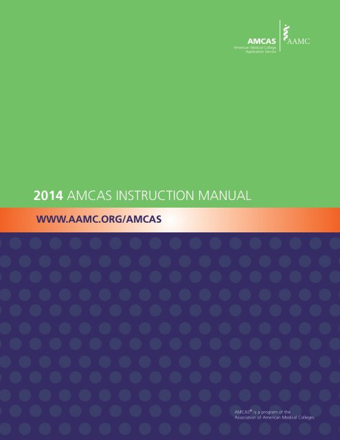 2014 AMCAS INSTRUCTION MANUAL