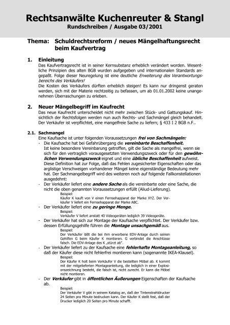 Thema Schuldrechtsreform Neues Advocat24