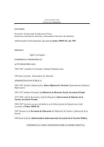 Currriculum vitae NILDA IRIS FERNANDEZ ESTUDIOS: Terciarios ...