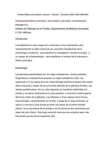 Hiperparatiroidismo primario, secundario y terciario: actualización