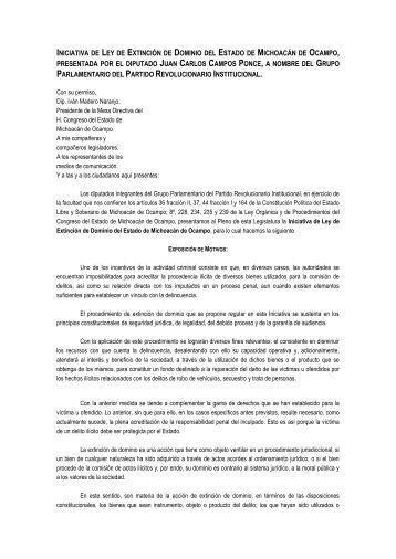 iniciativa de ley de extinción de dominio del estado de michoacán ...