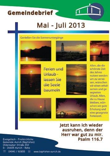 Gemeindebrief Mai bis Juli 2013