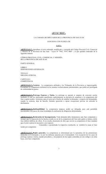 Ley 8037 Código Procesal Civil - Legislatura Provincial de San Juan