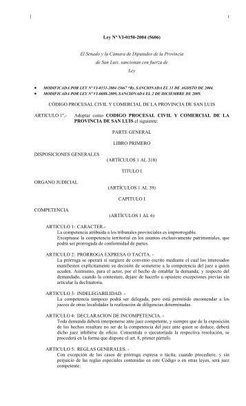 código procesal civil y comercial de la provincia de san luis