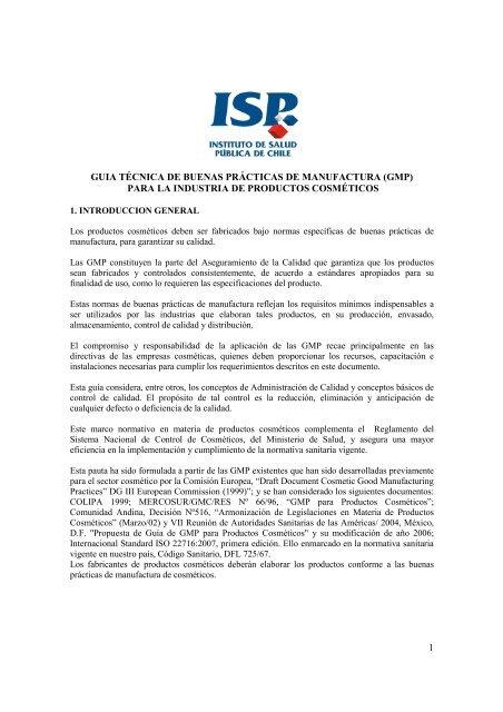 Guia Técnica Gmp Cosmetico Instituto De Salud Pública De Chile