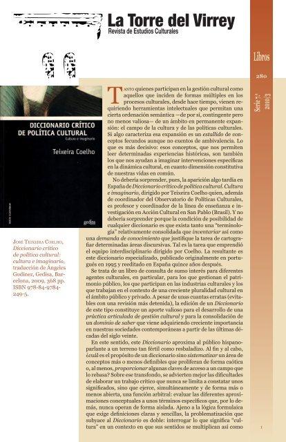 Diccionario Crítico De Política Cultural La Torre Del Virrey