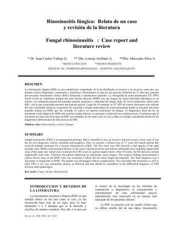 Rinosinusitis fúngica: Relato de un caso y revisión de la literatura ...