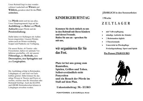 Gratisprospekt jetzt herunterladen - Reiten.de