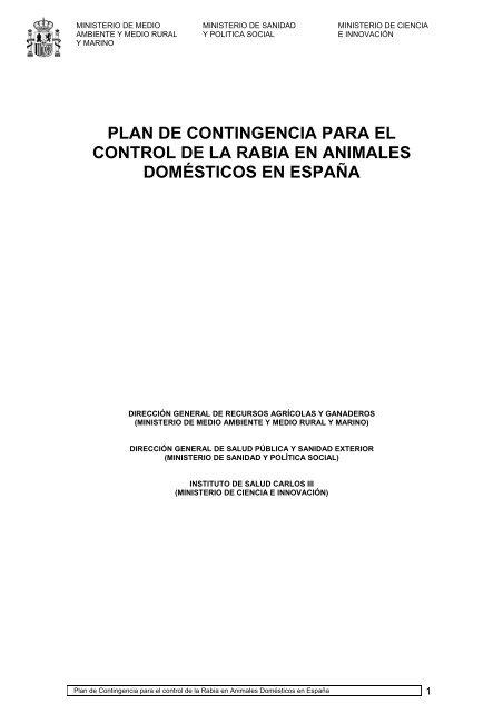 plan de contingencia para el control de la rabia en animales ...