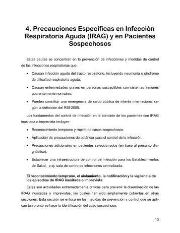 4. Precauciones Específicas en Infección Respiratoria Aguda (IRAG ...