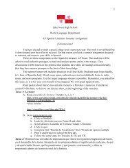 Lake Nona High School World Language Department AP Spanish ...