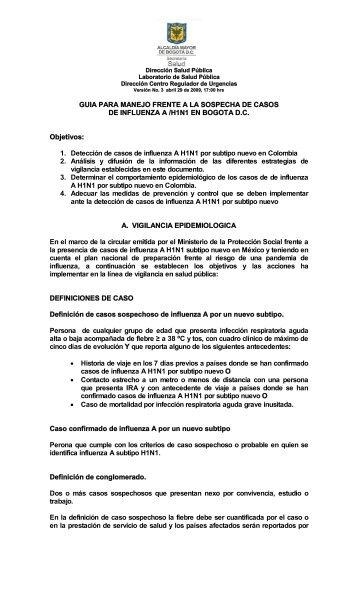 instructivo lineamientos influenza A H1N1_version 3.pdf - Secretaría ...