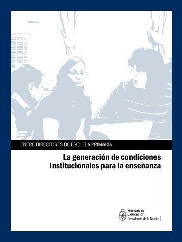 La generación de condiciones institucionales para la enseñanza