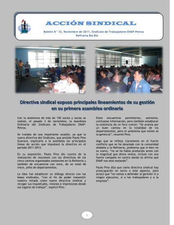 ACCIÓN SINDICAL Directiva sindical expuso ... - Fenatrapech