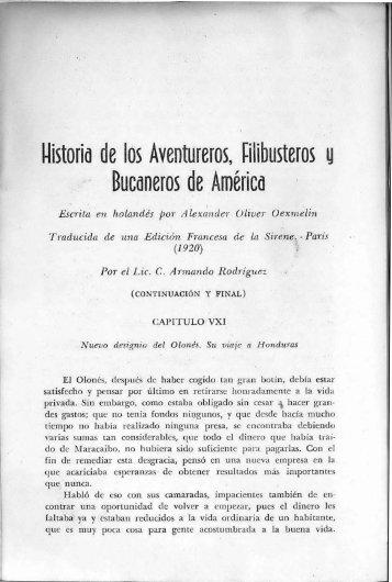 Historia de los Aventureros, filibusteros y bucaneros de ... - BAGN