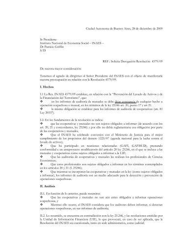 FACPCE Solicita Derogación Res 4579/09 del INAES