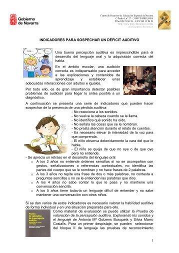 Indicadores de Sospecha de Déficit Auditivo - CREENA - Navarra