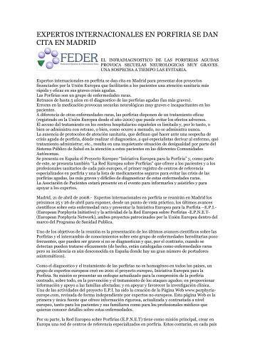 expertos internacionales en porfiria se dan cita en madrid