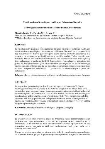CASO CLINICO Manifestaciones Neurológicas en el ... - SciELO