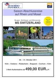 Saison-Abschlussreise auf Rhein und Mosel MS SWITZERLAND