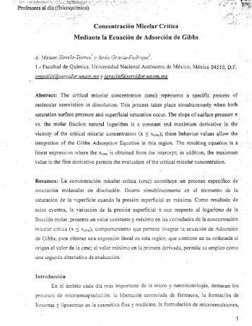 Concentración Micelar Crítica 'Y Mediante la Ecuación de ... - UNAM