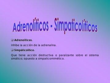 Adrenolíticos y simpaticolíticos - Mediteca