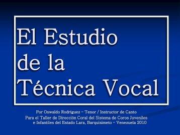 El Estudio de la Técnica Vocal