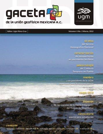Gaceta Vol. 2, No. 2 - Unión Geofisica Mexicana AC