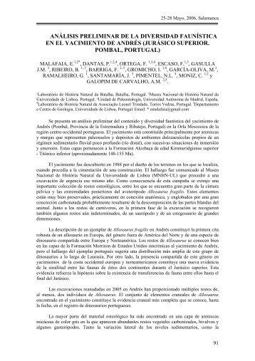 Análisis preliminar de la diversidad faunística en el yacimiento de ...