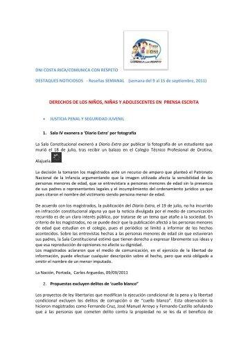 Boletín 2 (9 al 15 de setiembre 2011) - DNI Costa Rica