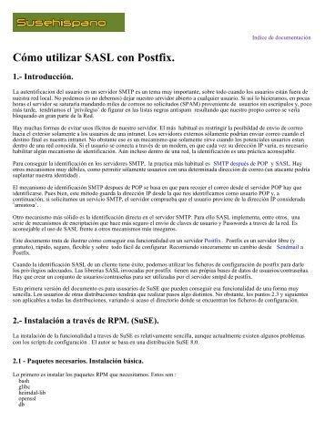 Cómo utilizar SASL con Postfix. 1.- Introducción. - Redes-Linux.com