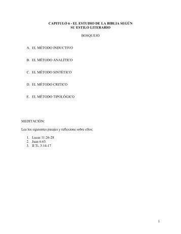 Capitulo 6 - El Estudio de la Biblia Segun su Estilo Literario